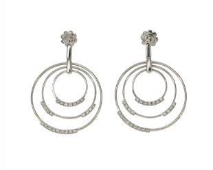 A pair of diamond circle drop earrings