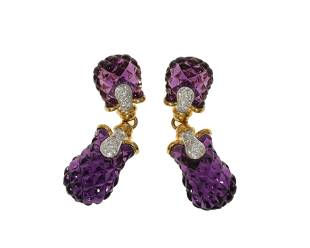 A pair of carved amethyst and diamond earrings