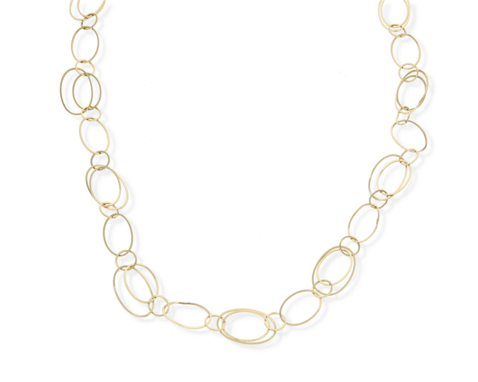 A gold link necklace