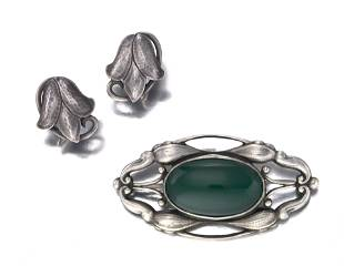 A group of Georg Jensen sterling silver jewelry items