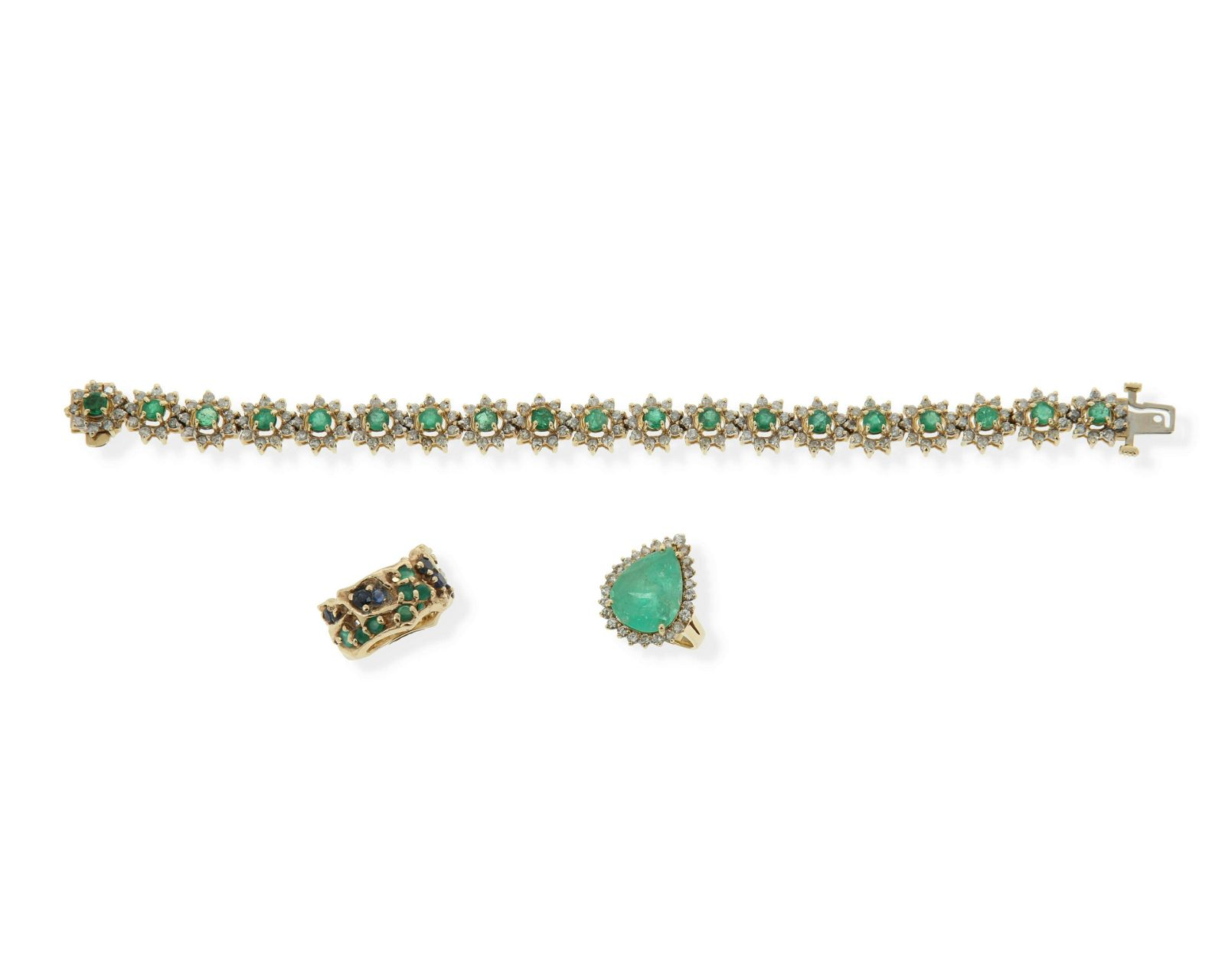 A group of emerald jewelry