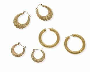 Three pairs of hoop earrings