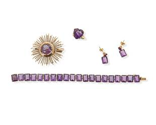 A group of purple gemstone jewelry