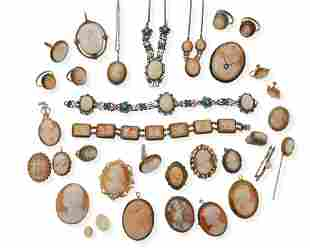 A large group of shell cameo jewelry