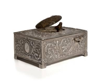 A German silver singing bird automaton music box