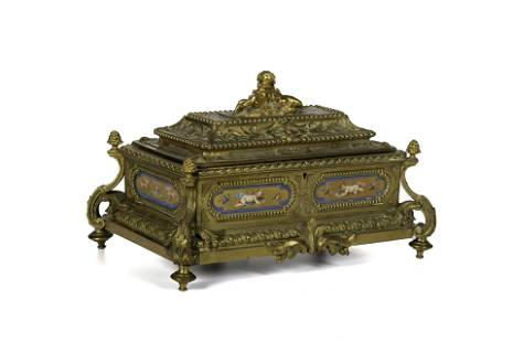 A French Second Empire gilt-bronze and porcelain casket