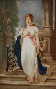 A framed KPM porcelain portrait plaque