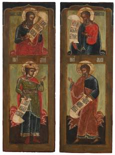 A pair of Russian icon panels