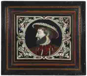 A French Limoges-style framed enamel portrait of