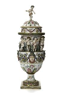 A large Capodimonte urn