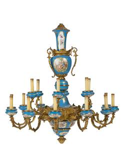 A Sevres-style gilt-bronze and porcelain chandelier