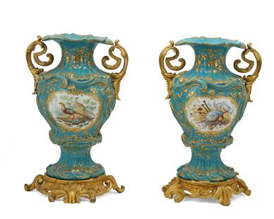 A pair of Sevres-style porcelain vases