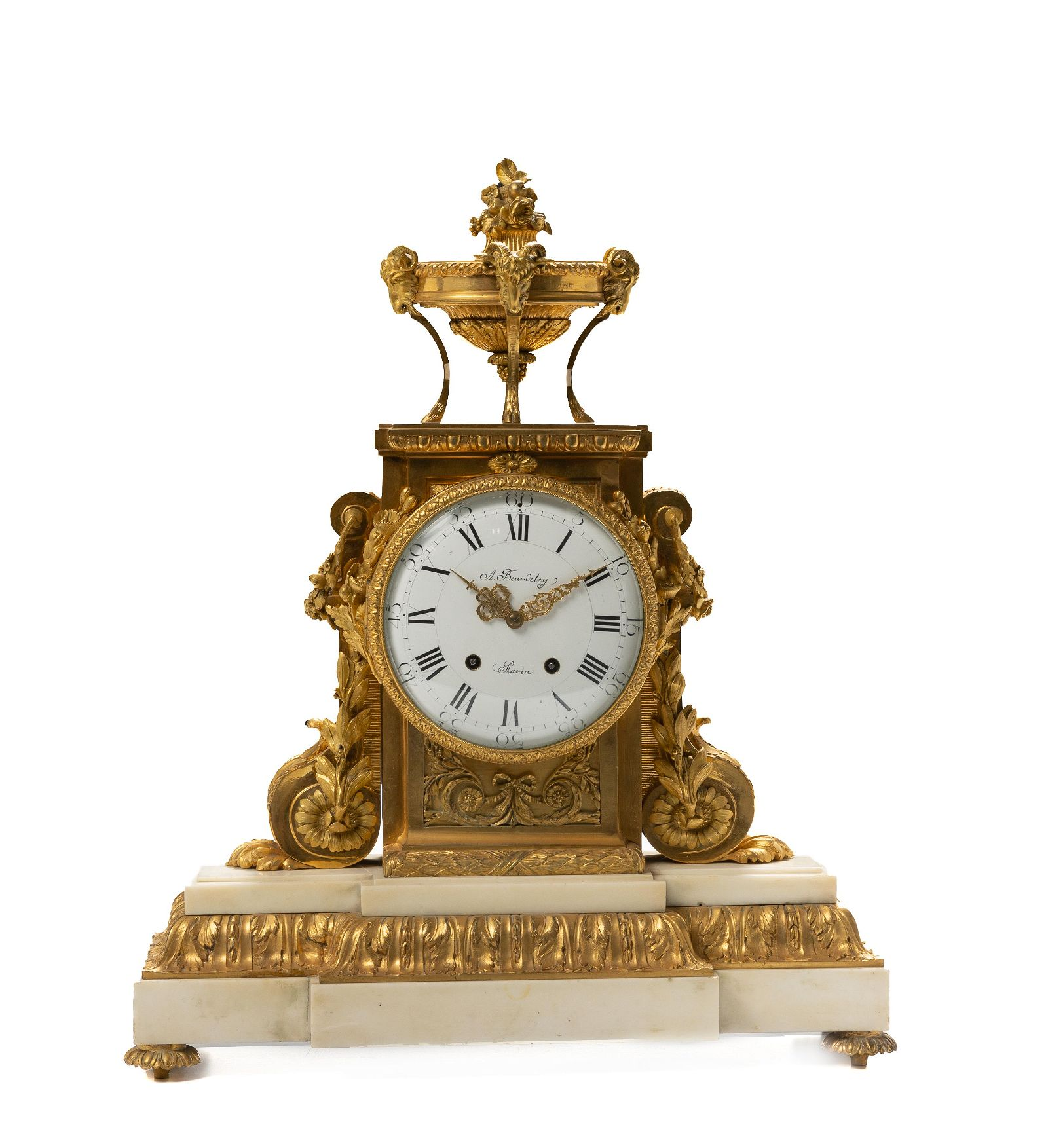 A French gilt-bronze and marble mantel clock