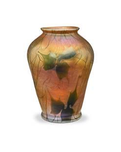 A L.C. Tiffany Favrile glass leaf and vine vase