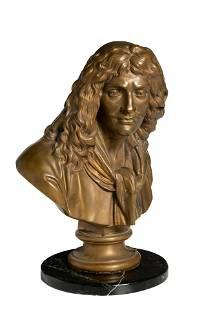A bronze bust of a man