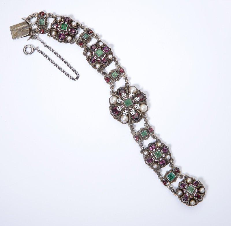 1004: A Renaissance Revival pearl, gem-set and enamel s