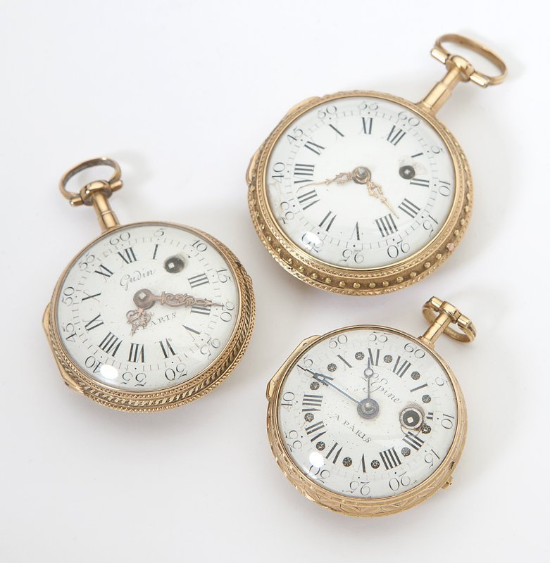 1013: Three French gold fusee pocket watches