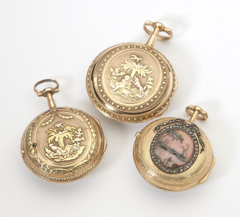 1013: Three French gold fusee pocket watches - 2