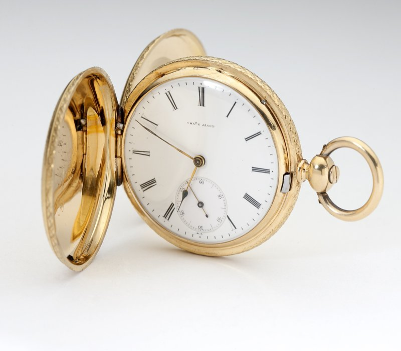1014: A gold hunters case pocket watch, Charles E. Jaco