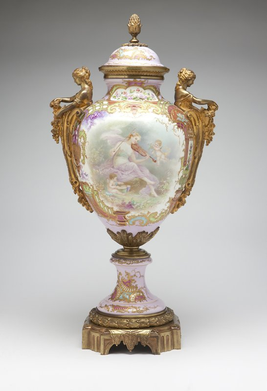 1017: A large gilt bronze-mounted ''Sevres'' style pink