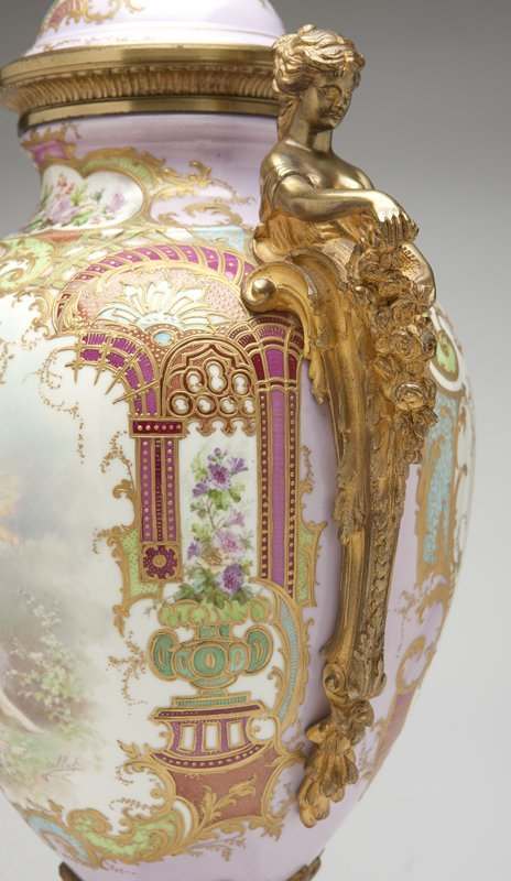 1017: A large gilt bronze-mounted ''Sevres'' style pink - 2