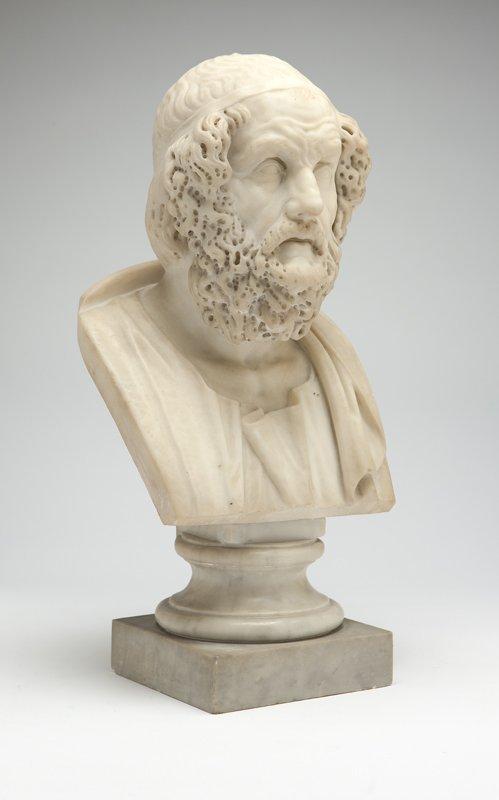 1020: An Italian white marble bust of Homer