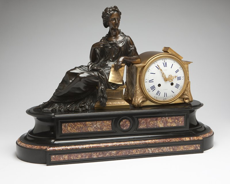 1023: A Napoleon III gilt and patinated bronze, marble