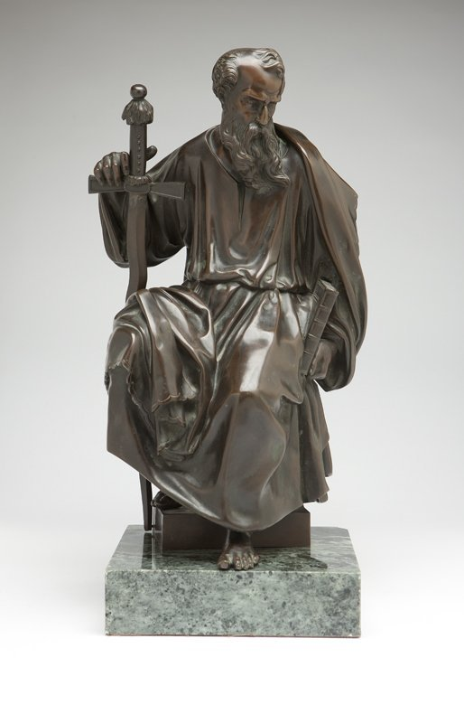 1025: A Continental patinated bronze figure of Moses