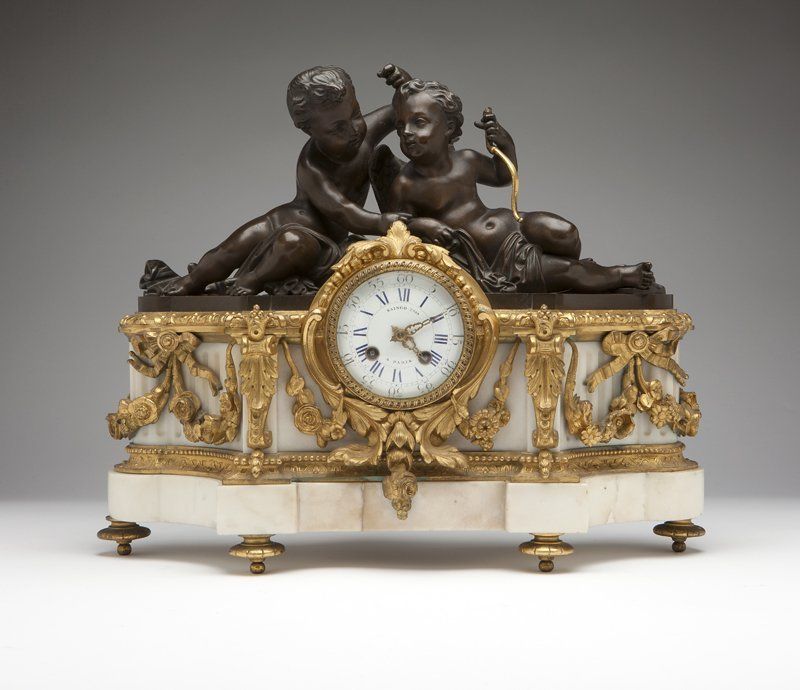 1026: A Napoleon III gilt and patinated bronze and whit