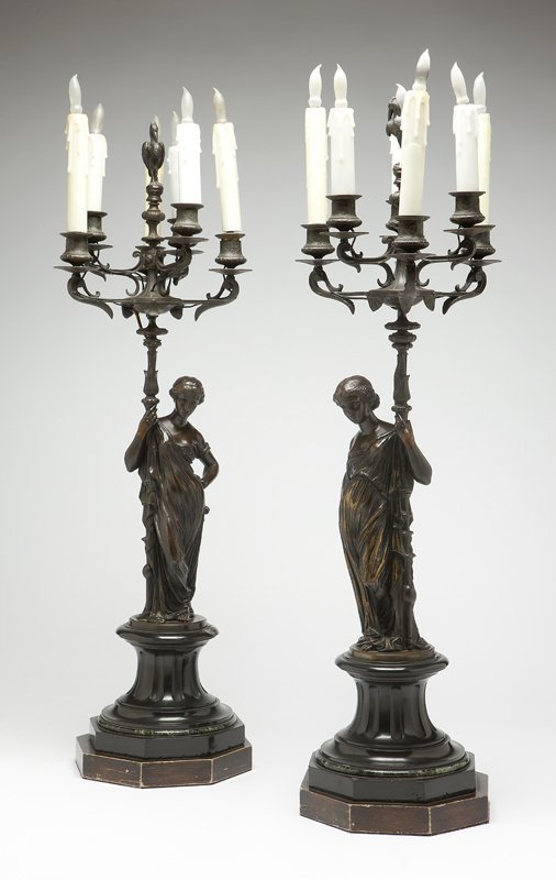 1027: A pair of Continental bronze 6-light figural cand