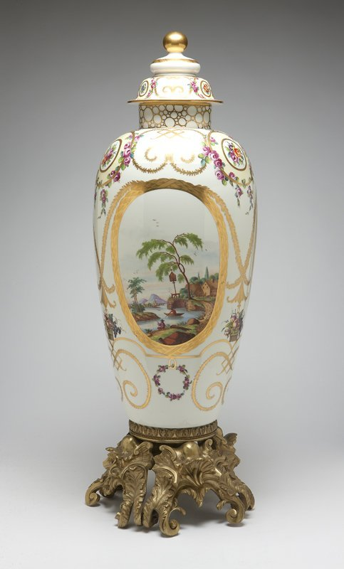 1028: A large gilt bronze-mounted ''Sevres'' style whit