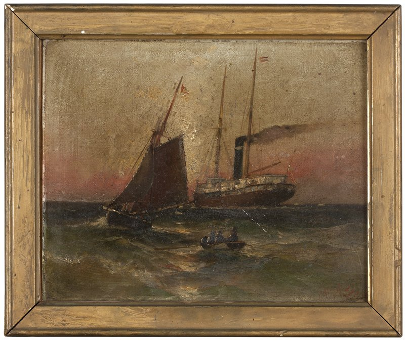 1043: Early 20th Century European Boat Scene with Sailb