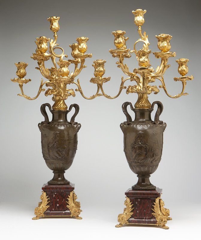 1044: A pair of Napoleon III patinated bronze, ormolu a