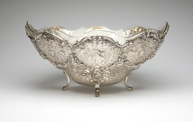 1001: A large German silver pierced center bowl