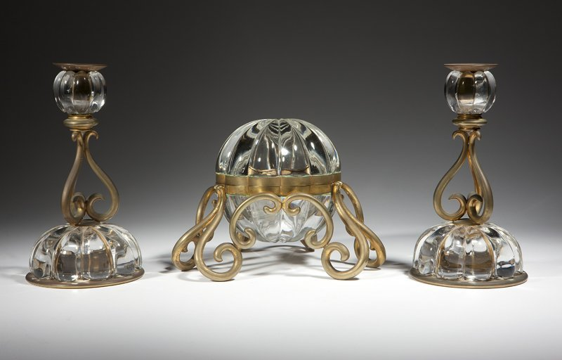 1011: A French gilt brass-mounted crystal desk set