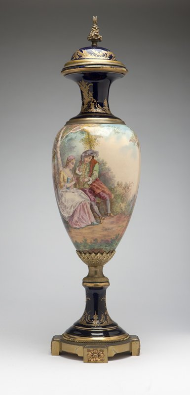 1019: A gilt brass-mounted Sevres style porcelain urn