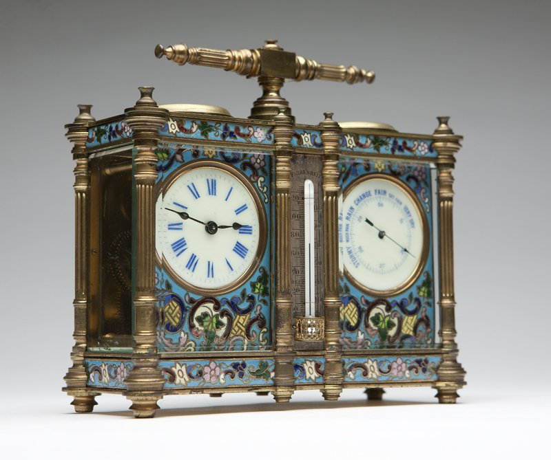 1008: A French enameled double carriage barometer/clock