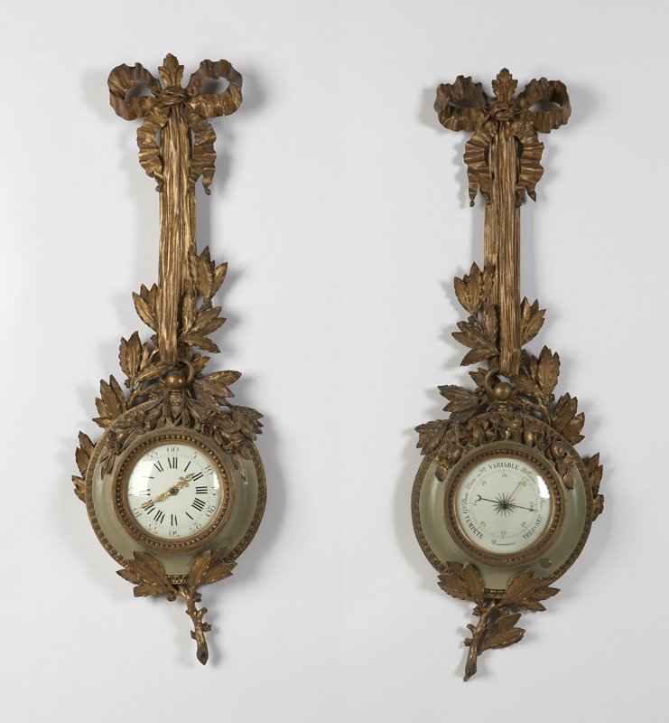 1017: A Louis XV style cartel clock & barometer