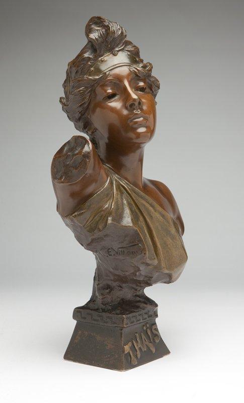 1022: After E Villanis, a patinated bronze bust 'Thais'