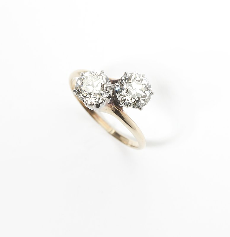 1103: A two-stone diamond and gold ring
