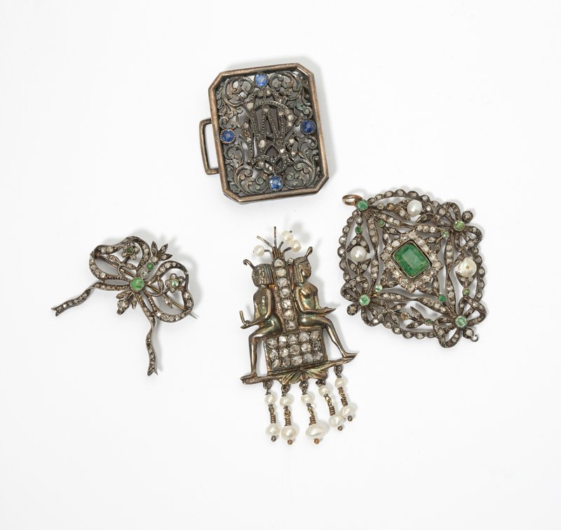 1105: A group of diamond and gem-set antique jewelry