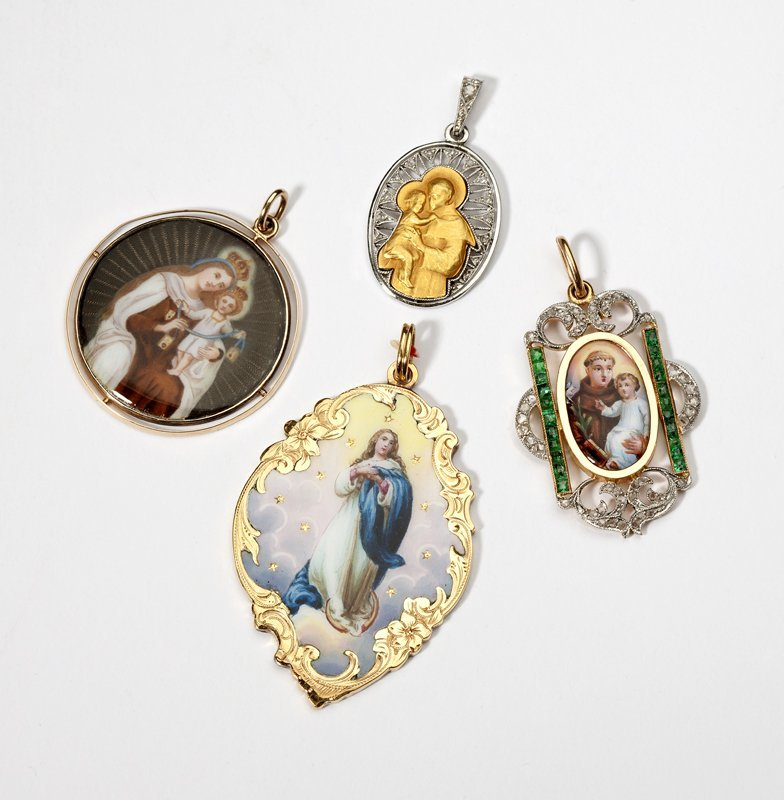 1108: Four gold, gem-set and enamel icon pendants