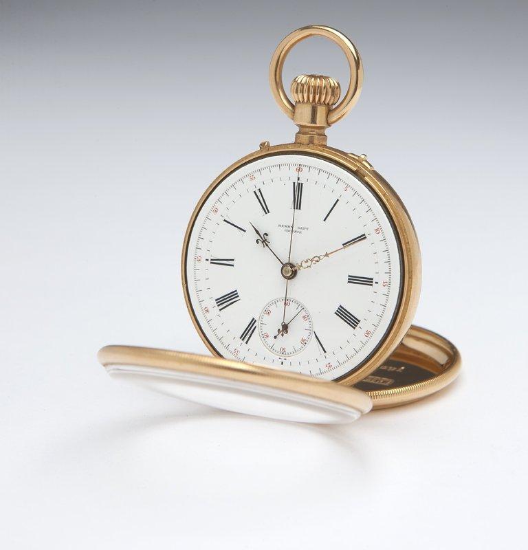 1113: A gents' gold demi-chronograph, Henry Capt