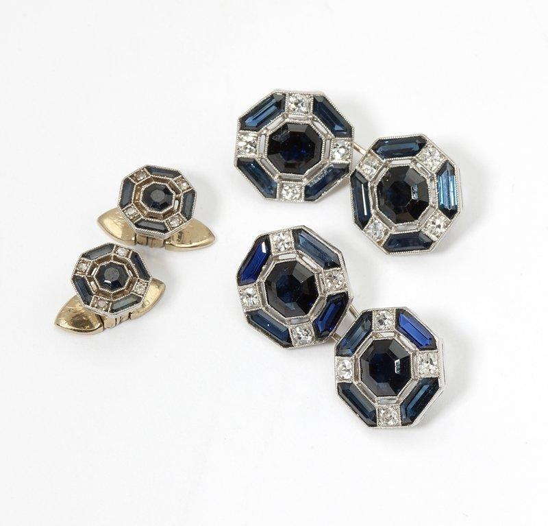 1116: Art Deco simulated sapphire and diamond dress set