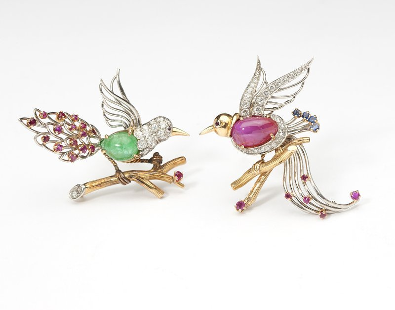 1150: Two French diamond and gem-set bird brooches