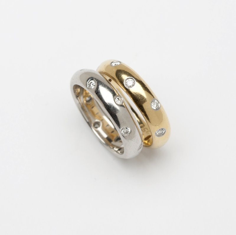1224: A pair of diamond bands, Tiffany and Co
