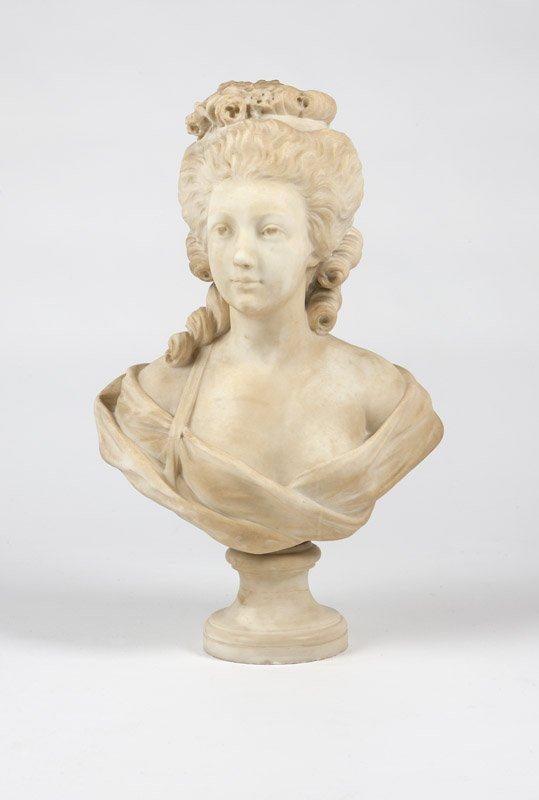 1019: A Continental carved white marble bust of a woman