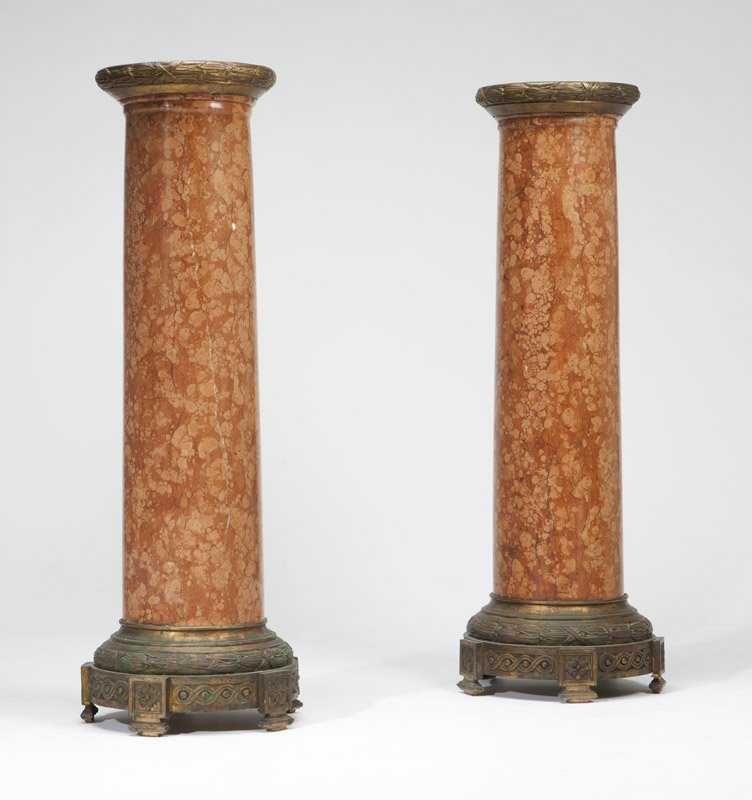 1020: A pair of ormolu-mounted marble pedestal columns