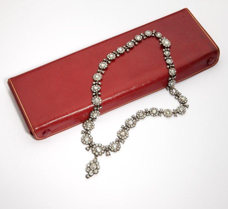 3: An antique rose-cut diamond necklace