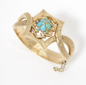5: A Victorian turquoise and diamond hinged bangle